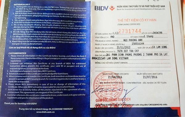 Vay thế chấp sổ tiết kiệm BIDV